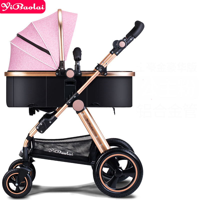 Baby stroller Europe High View trolley Can Sit and Lie 2-in-1 strollers Foldable 8 Gift Four Wheel Umbrella carts russian wholesale new luxury baby stroller 3 in 1 high landscape three dimensional four round baby stroller carts strollers
