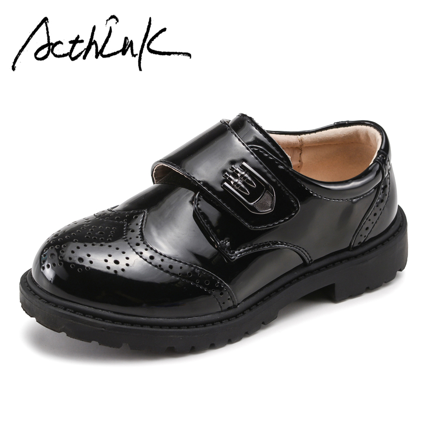 ActhInK New Kids Formal Genuine Leather Wedding Shoes Teenage Boys Brogues Children School Uniform Shoes Big Boys Leather Shoes