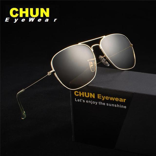 CHUN G24 Alta Qualidade Clássico Das Mulheres Dos Homens óculos de Sol Piloto Óculos frame Da Liga do vintage da moda oculos de sol óculos de Lente de vidro + caso