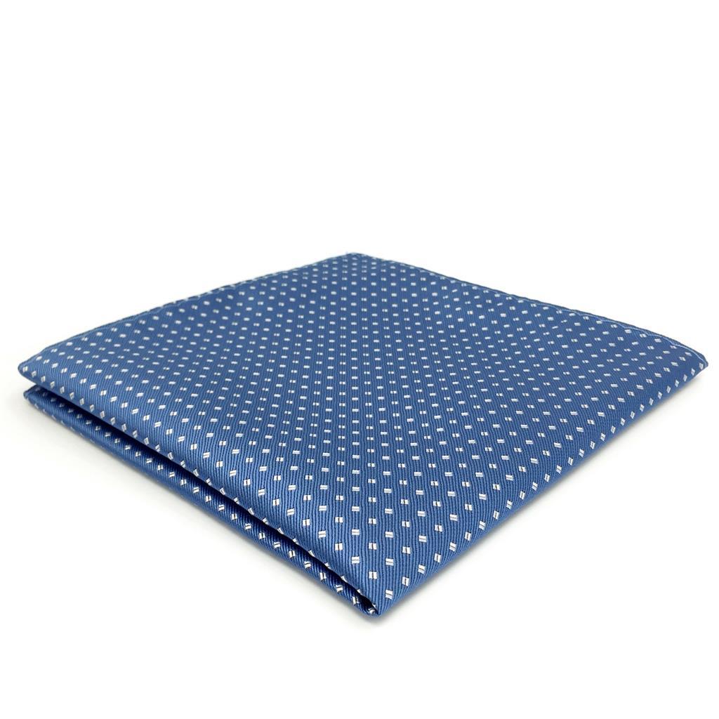 FH06 Blue Polka Dots Mens Pocket Square Classic Wedding Handkerchief Silk Dress Hanky