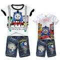 Мальчиков Томас Друзья Комплект Одежды Детская одежда Футболка + Короткие Джинсы брюки 2-х частей Устанавливает дети Костюм Для 2 4 6 8 10 Лет