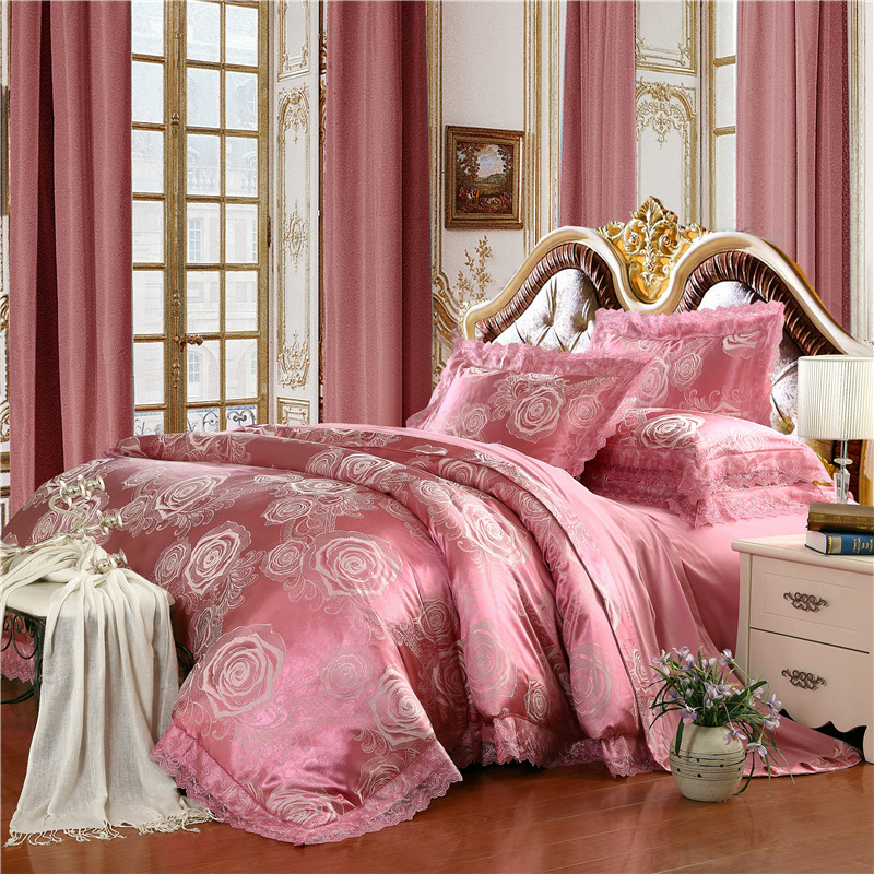 French Princess Modal Silk Flower Jacquard Lace 4pcs Double Bed Bedding Set Quilt Duvet Cover Bedsheet Pillowcase Kit B3232 In Sets From Home