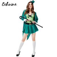 Echoine Women Halloween St. Patrick's Day Irish Lucky Leprechaun Costumes Cosplay Green Forest Elf Carnival Purim Clothing