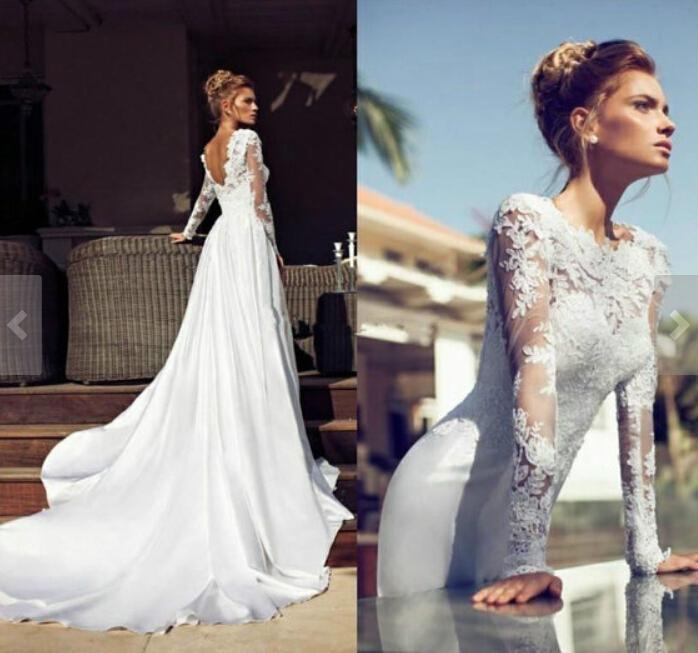 2015 Ebelz New Release Wedding Dress A Line Style Full Lace Sleeve ...