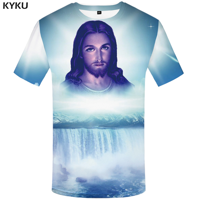 33bf85124 KYKU Jesus T Shirt Men Character Tshirt Waterfall 3d Print T-shirt Punk  Rock Clothes