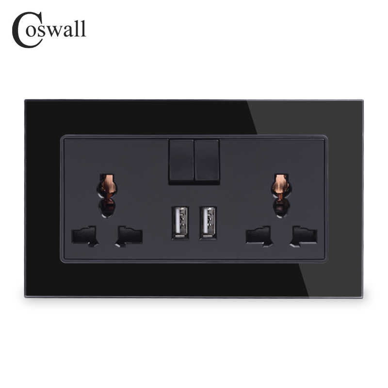 Coswall 13A Universal Switched Socket 2 USB Charge Port untuk Ponsel Output 2.1A Wall Outlet Panel Kaca Kristal Ksatria Hitam