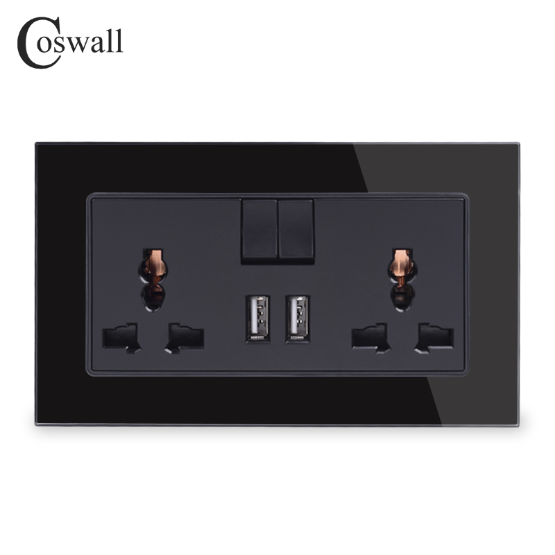 COSWALL 13A Universal Switched Socket 2 USB Charge Port For Mobile Output 2.1A Wall Outlet Crystal Glass Panel Knight Black