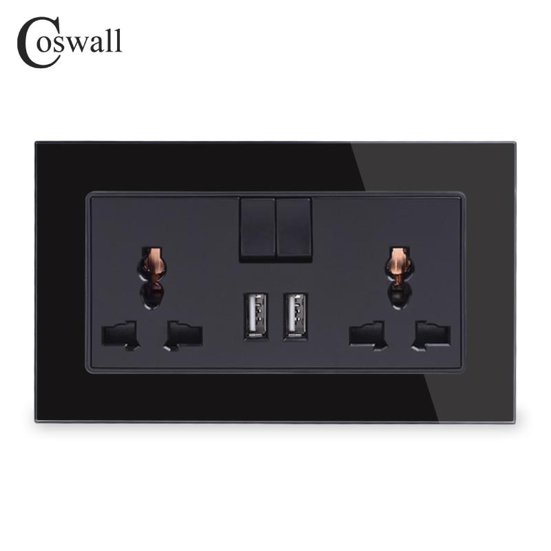 Универсальная Коммутируемая розетка COSWALL 13A, 2 порта USB для зарядки мобильного выхода 2,1 А, настенная розетка, панель из хрустального стекла, ч...