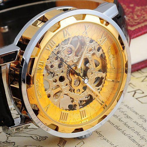 Vintage de Luxo Homens Completa do Relógio de Aço Inoxidável Relógio Esqueleto Transparente Caixa de Presente Clássico Mão Mecânica Do Vento Assista