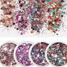 10ml Nail Glitter Mix Color Powder Ultra-thin*1mm Purple Blue Mixed Fine-Glitter For Decoration FMAC1-2-5-8