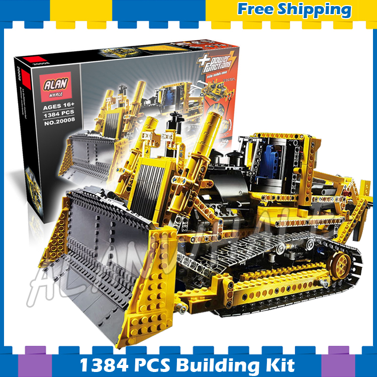 1384pcs Techinic Remote Controlled Motorized Bulldozer Machineshop 20008 Model Building Blocks Gifts sets Compatible With lego 1636pcs 2in1 techinic remote controlled