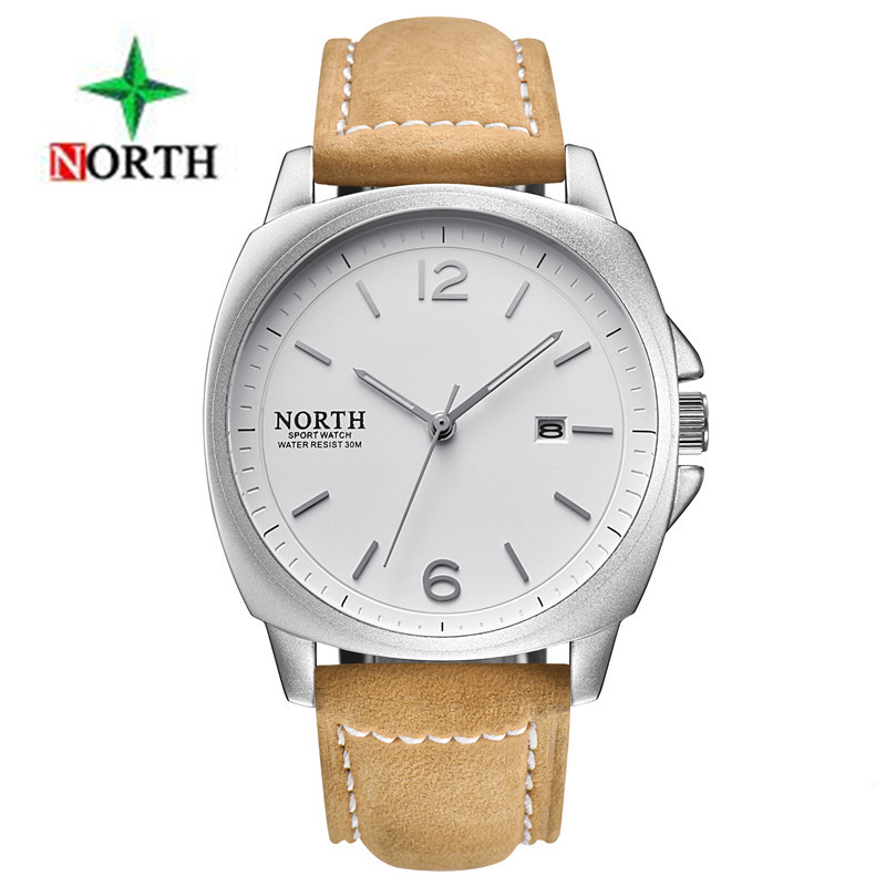 2018 NORTH Mens Watches Top Brand Luxury Business Quartz-Watch Leather Strap Clock Men Waterproof Wristwatch Relogio Masculino oulm mens designer watches luxury watch male quartz watch 3 small dials leather strap wristwatch relogio masculino