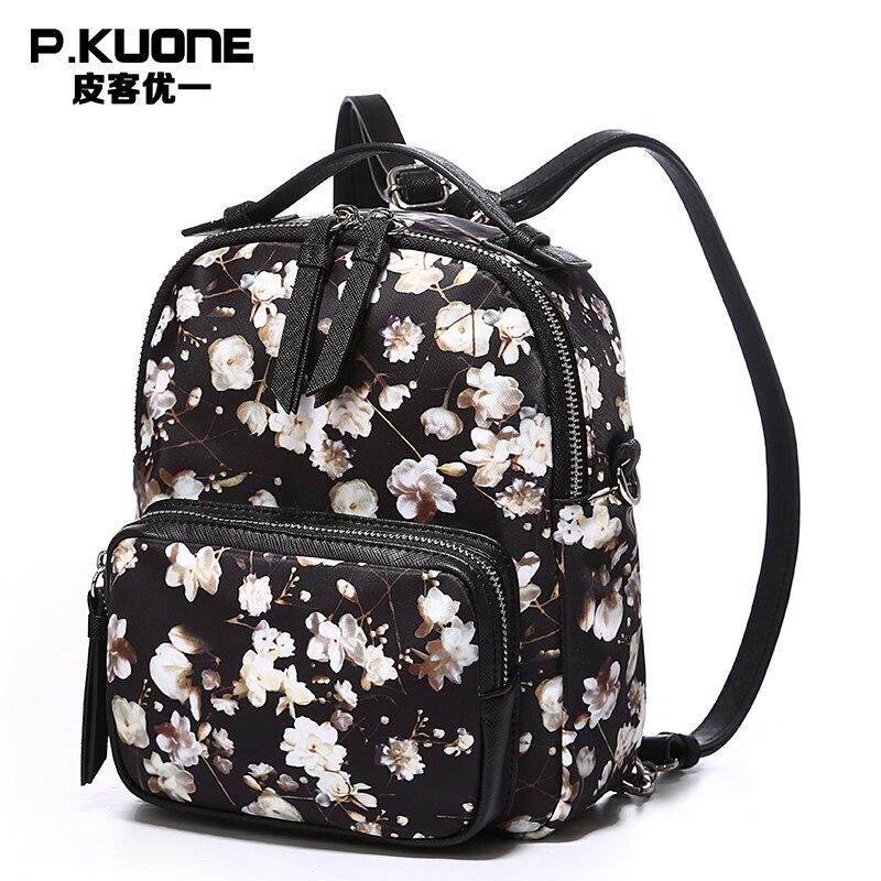 P KUONE Brand Feminine Backpack Flower Women Mini Backpack Small School Backpacks Female Teenage Backpacks For