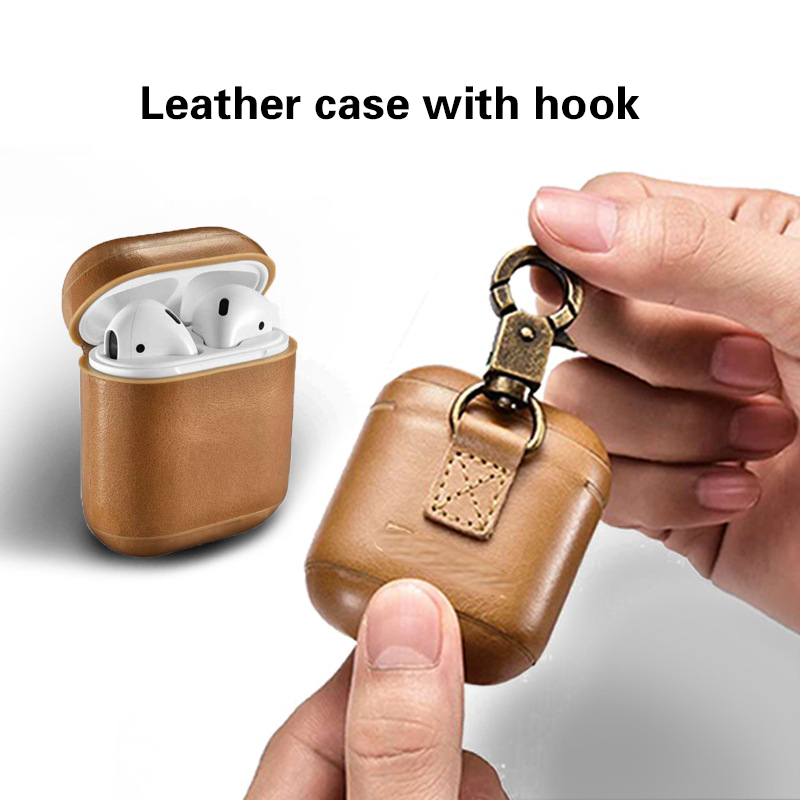 Earphone Case For Apple Airpods strap Leather with Buttons headphone Case Earphone accessories Protective wireless Cover