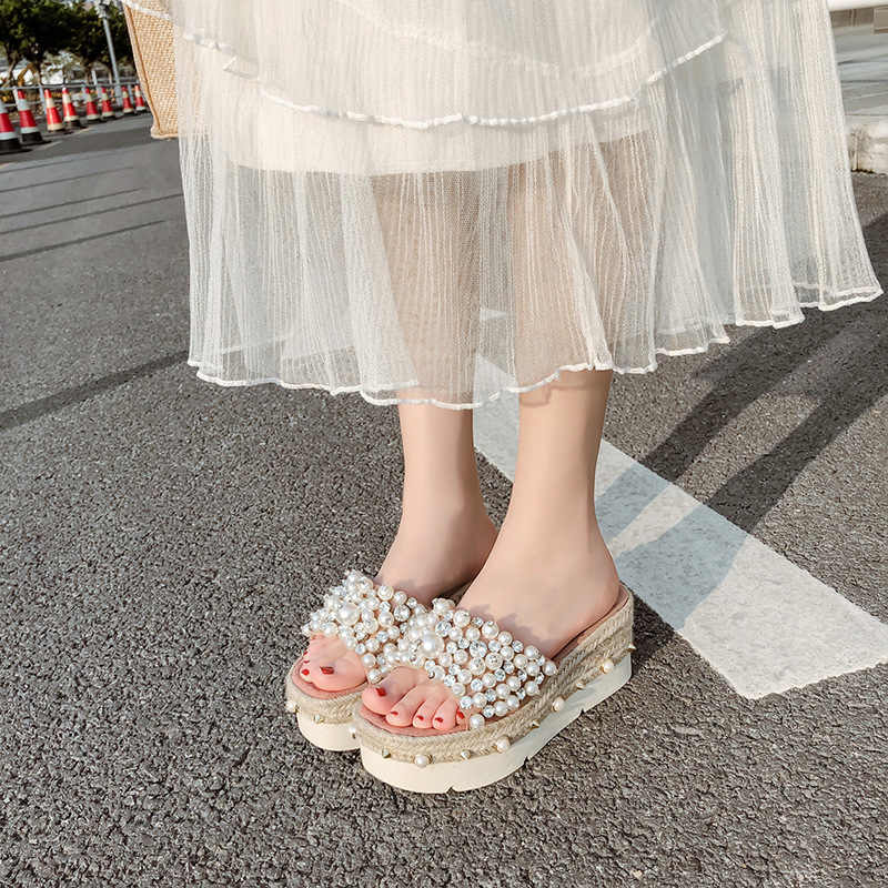 parkside female summer 2019 wedge heel modis leather clogs platform rubber slippers slides sandal Med ladies Summer casual new
