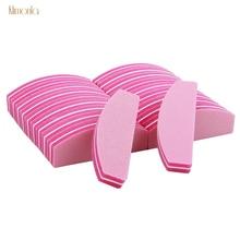 40pcs Pink Nail Art Buffer File Block Sponge Sanding 100/180 Polish Buffers With Boat Shape DIY Salon Tools