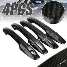 For Honda 1set 4 Door Black Carbon Fiber Style Handle Cover Trim Sticker Civic 2006-2011