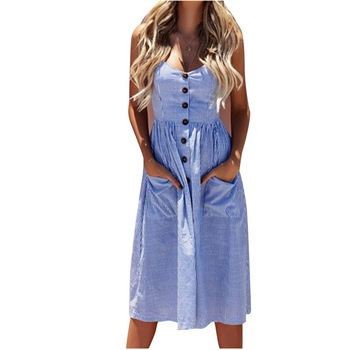 586138ecadc5fda MoYan/брендовые длинные пляжные платья модные повседневные свободные летние  полосатые платья для женщин 2018 летнее платье без рукавов Vestidos