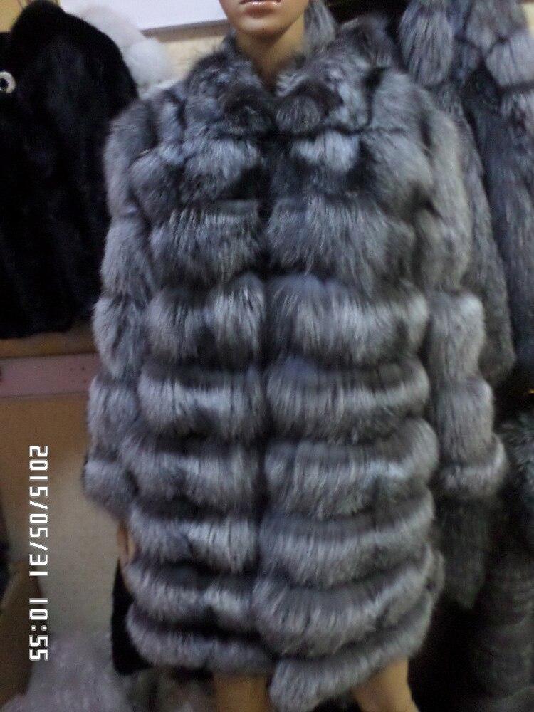 Silver fox long sleeve length 90 cm fur coat