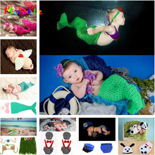 Baby Girl Mermaid Costume Set Newborn Photography Props Infant Girl Outfits Crochet Headband Cocoon Set MZS-14019(China)