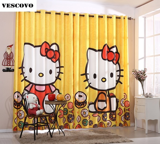 Hello Kitty Rose Jaune Mignon Hello Kitty Princesse Chambre Fille Chambre  Enfants Chambre Rideau Baie Fenêtre