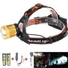 Cycling Bike Front Headlight Headlamp Bicycle Light Headlight Camping Fishing Light +2*18650 Battery+Car charger+1*USB F,22