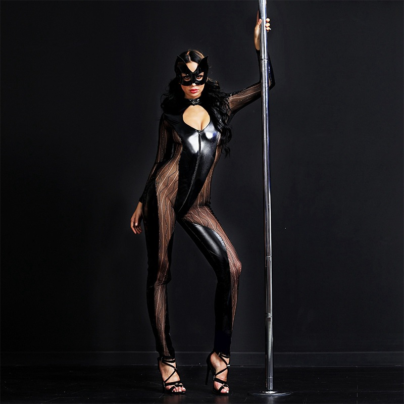 Women Black Latex Leather Mesh Catsuit Face Mask Sexy Catwoman Costume Front Zip Bust Hollow Out Bodysuit For Halloween 6518