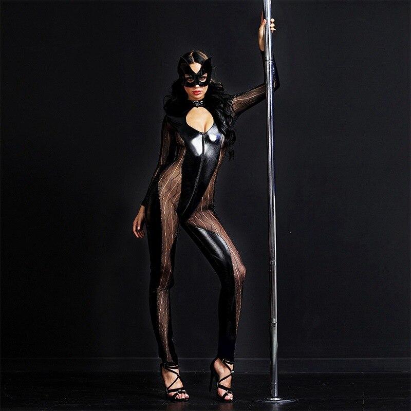 JSY femmes noir Latex cuir maille Catsuit visage masque Sexy Catwoman Costume avant Zip buste évider body pour Halloween 6518