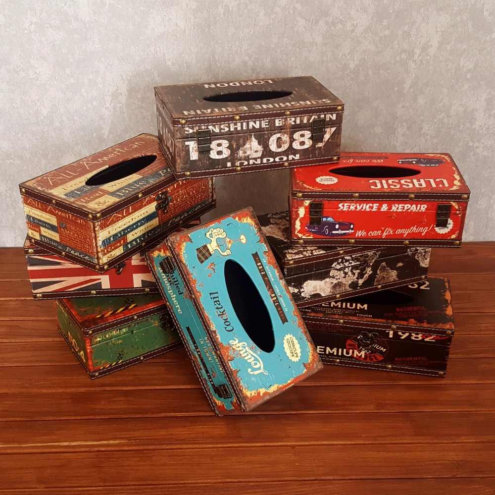 Creative vintage accessories wooden cardboard boxes napkin boxes waterproof tissue boxes