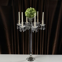 90cm Tall 7 arms Crystal Pillar Candle Holders Candlestick Wedding Decoration Stand Mariage Home Decor Candelabra with Bowl