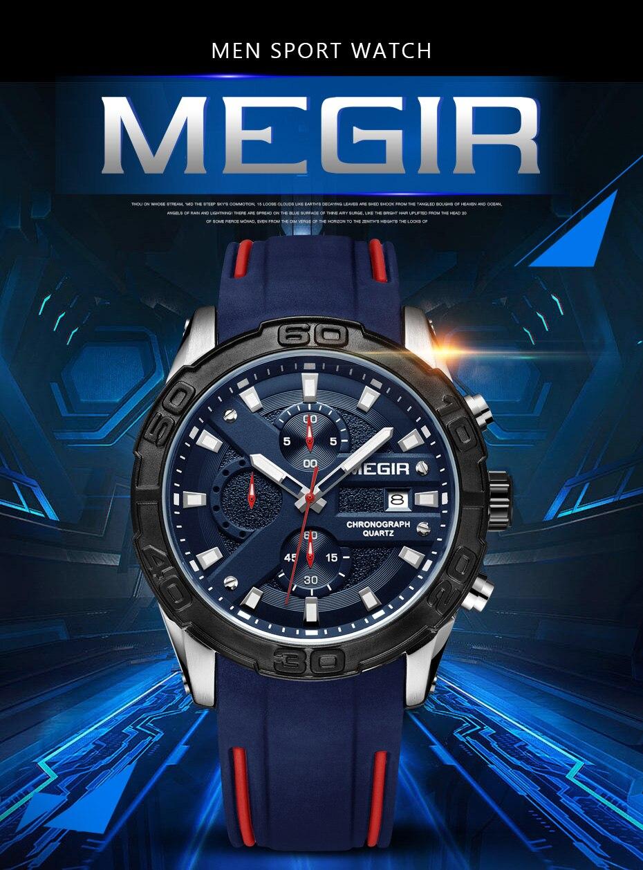 Topdudes.com - MEGIR Sports Fashion Relogio Masculino Silicone Military Watch