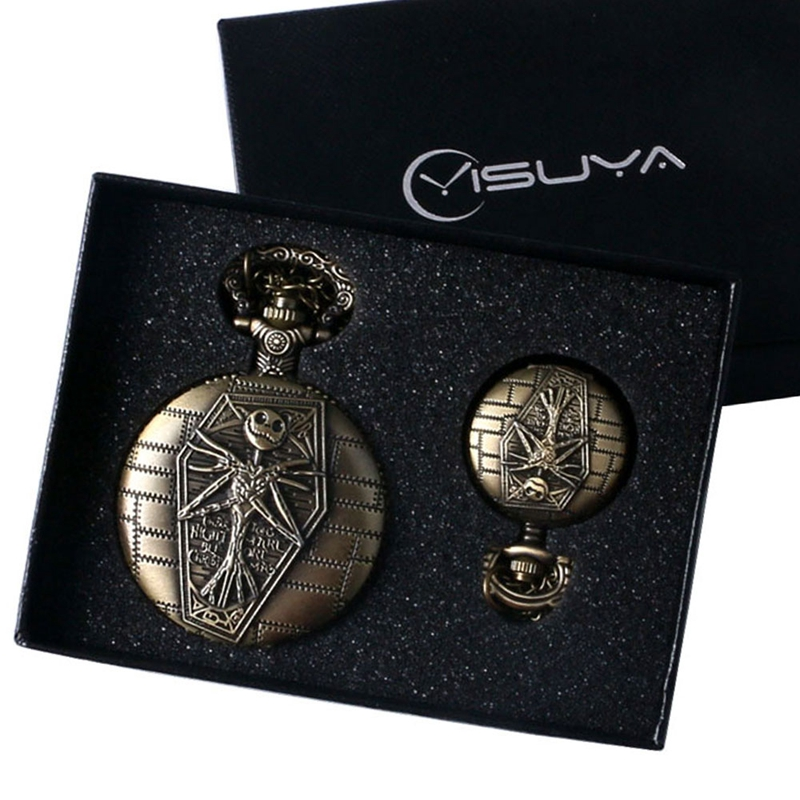 Cool Gift Set The Nightmare Before Christmas Vintage Bronze Quartz Pocket Watch Pendant Necklace Fob Watch for Boy Men + Box