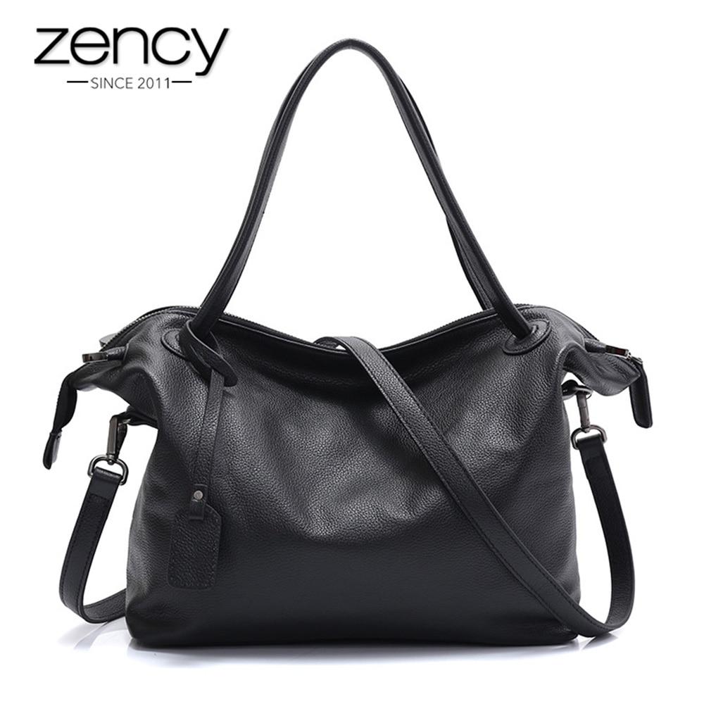 Zency 100% натуральная кожа модные женские туфли сумка большой ёмкость женский Crossbody Кошелек черная сумочка Элегантный