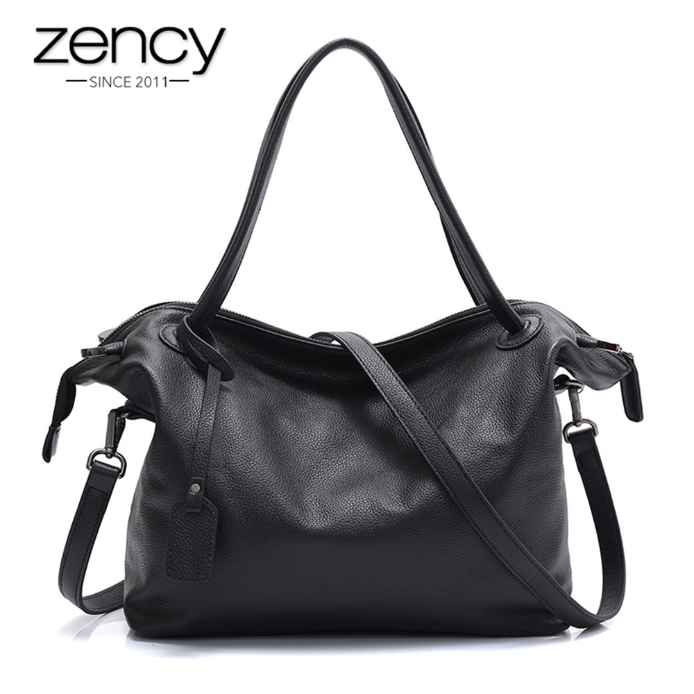 где купить Zency 100% Natural Leather Fashion Women Shoulder Bag Large Capacity Female Messenger Crossbody Purse Black Tote Handbag Elegant по лучшей цене