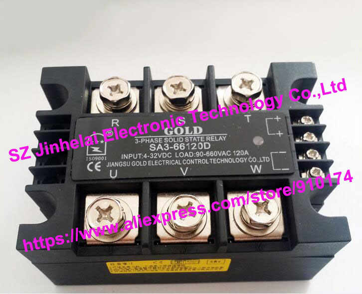 New and original SA366120D SA3-66120D GOLD 3-PHASE Solid state relay SSR 4-32VDC, 90-660VAC 120A new and original sa366150d sa3 66150d gold 3 phase solid state relay ssr 4 32vdc 40 660vac 150a