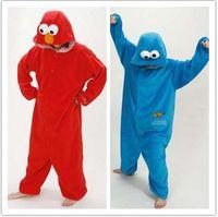 Free Shipping New Adult Blue Cookie Monster Pajamas Sleepsuit Sleepwear Pyjamas Unisex Onesie Red Cookie Monster