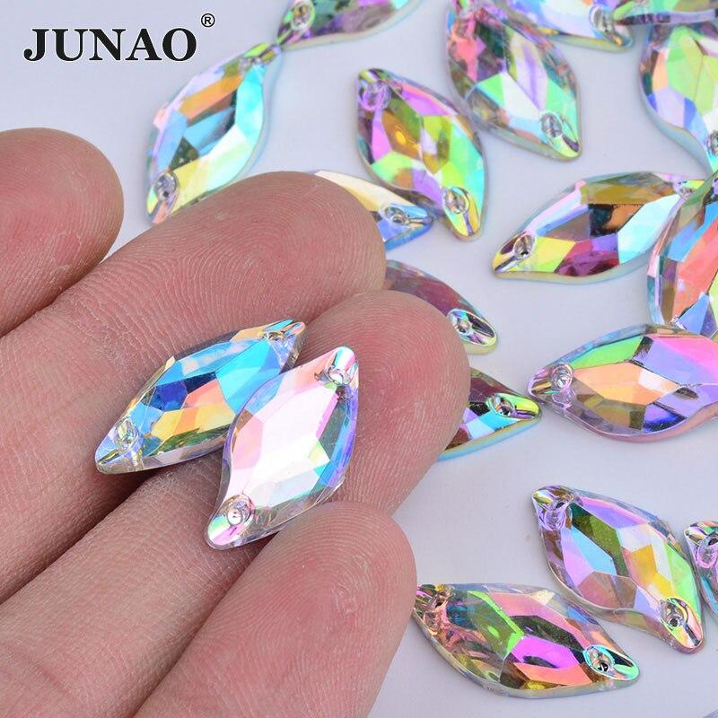 JUNAO мм 9×20 мм Вышивание кристалл AB листьев форма стразы аппликация плоской задней камни акрил камни для свадебное платье поиск ремесла
