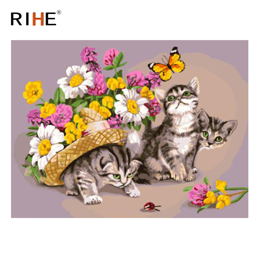 RIHE Cat FlowerDIY Oil Painting By Numbers Home Decor Canvas On Modern Wall Art for living room Acrylic Paint