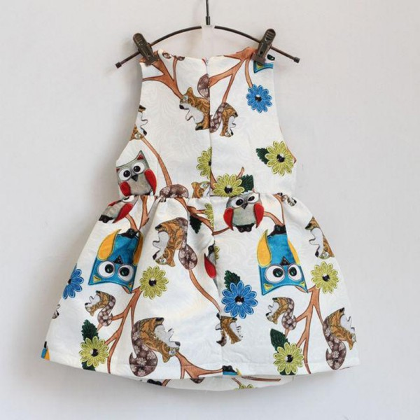 Cute Kids Baby Girls Dress Sleeveless Owl Print Tutu Dress Party Kids Girl Clothes Brand New print sleeveless midi dress