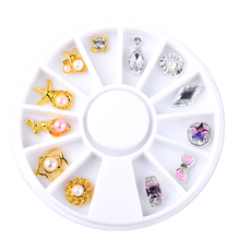 Gold Silver Bow Flowers Design Alloy Nail Decoration Wheel 3D Charm Jewelry Accessories