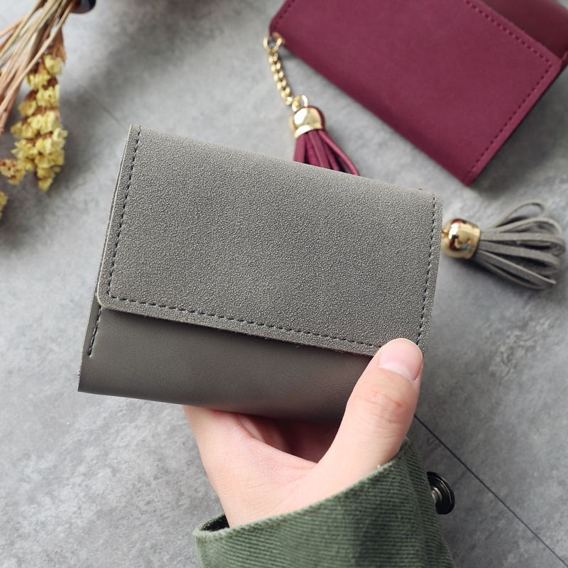 2018 mini women wallet organizer wallet travel Casual Clutch Tassel matte portefeuille femme cuir Slim carteira feminina wallets 4