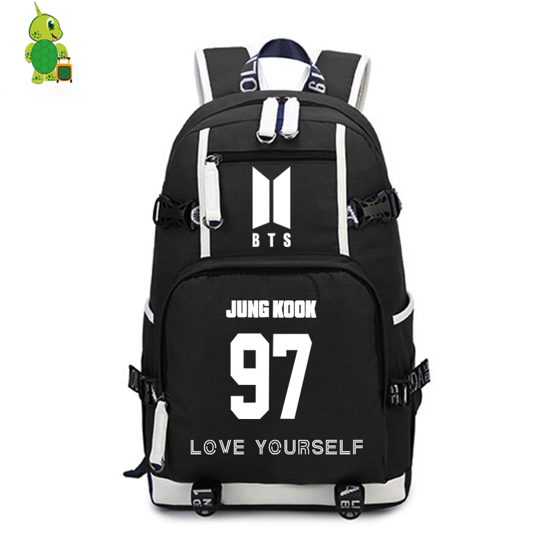 Bts Bangtan Boys Love Yourself Backpack Women Men Daily Bags Kpop Rap Monster V Suga Large Travel Bags For Teenagers Backpack