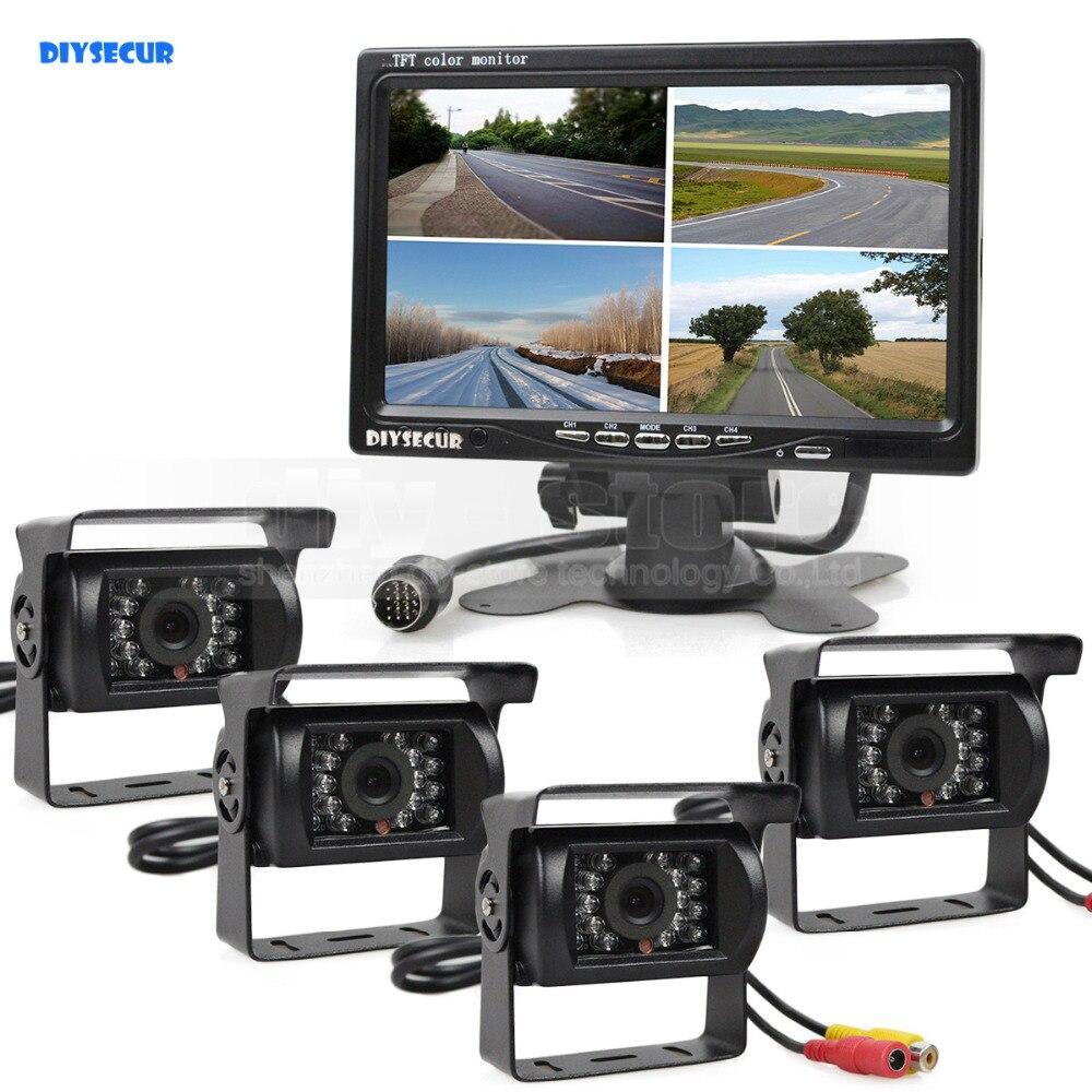 DIYSECUR 800x480 7 pouces 4 Split QUAD moniteur de vue arrière moniteur de voiture + 4 x CCD IR Vision nocturne caméra de vue arrière pour camion Bus
