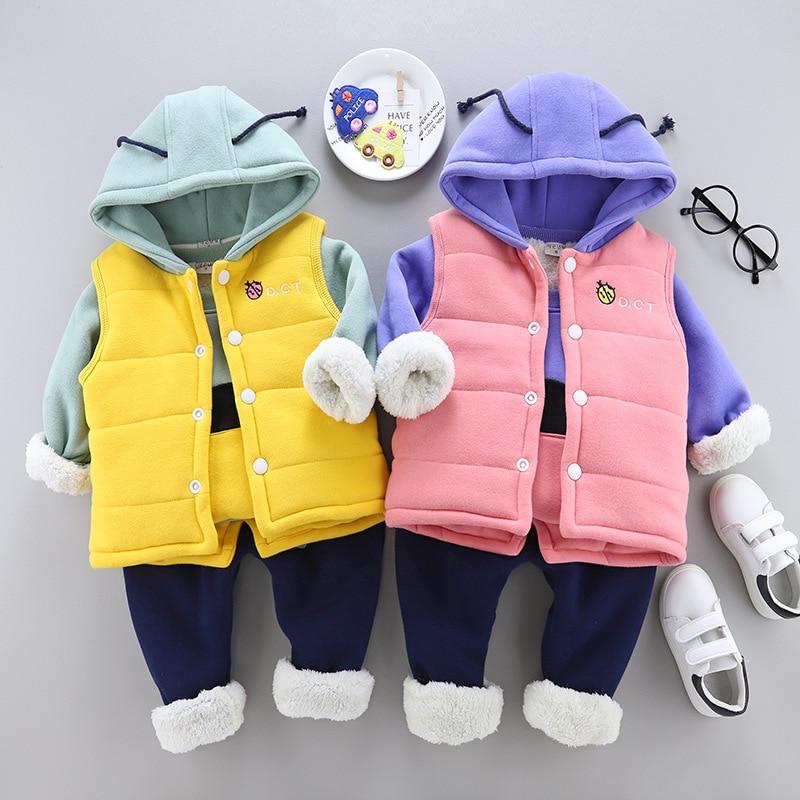Mihkalev enfant fille vêtements ensemble d'hiver bébé garçons vêtements ensembles tops + gilet + pantalon 3 pièces enfants filles survêtement enfants chaud ensemble