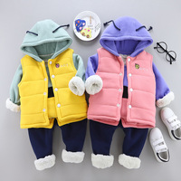 Mihkalev toddler girl clothes set winter baby boys clothing sets tops +vest+pants 3pieces kids girls tracksuit children warm set