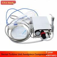 Portable Dental Turbine Unit Work W/ Air Compressor 4Hole Triplex Syringe
