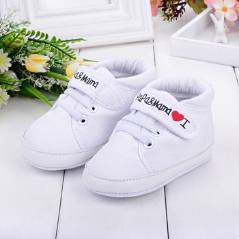 Love Papa & Mama letter print Baby shoes Infant patch Kid Boy Girl Canvas Sneaker Toddler Shoes Anti-slip Soft walker soles 40