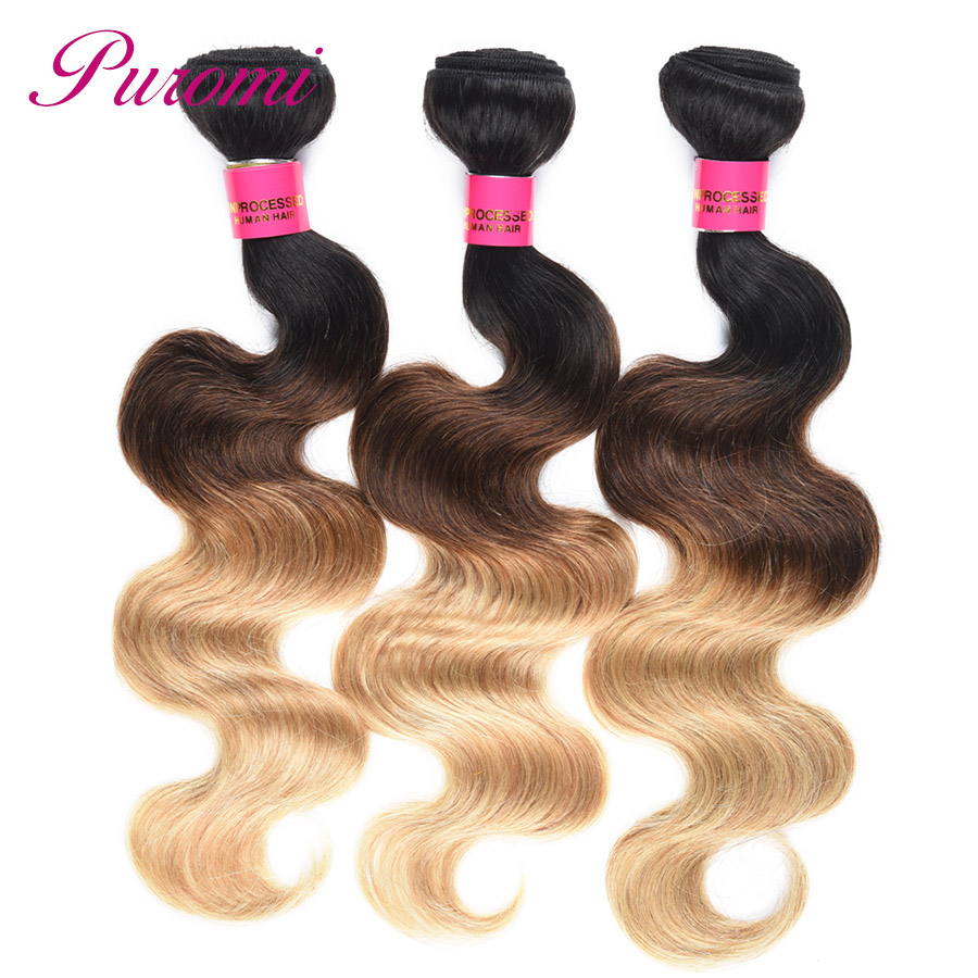 Puromi Indian Hair Body Wave Bundles Honey Blonde T1b/4/27 Ombre Hair Extensions 3 Bundle Deals Double Weft Hair Weave