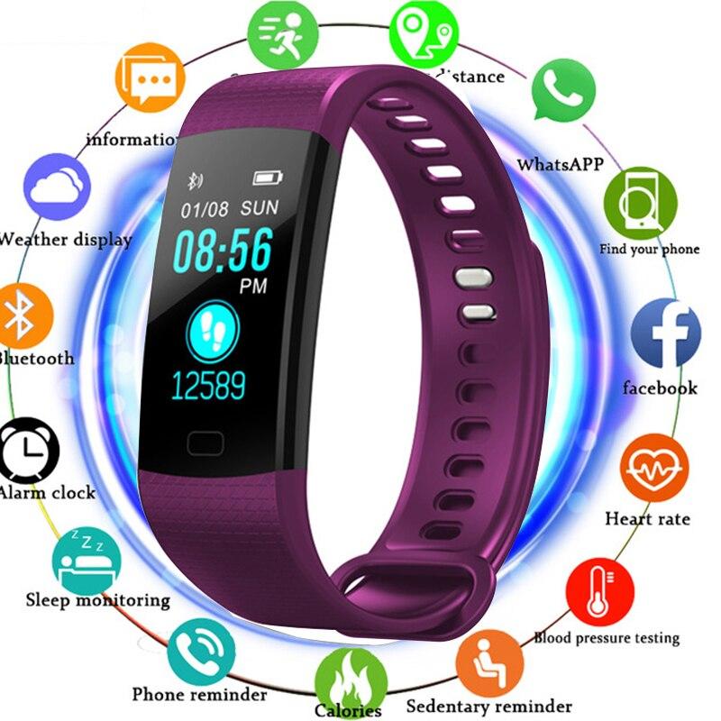 TOLASI mujeres hombres pulsera inteligente Bluetooth Frecuencia Cardíaca presión arterial podómetro reloj LED deporte pulsera reloj para Android IOS