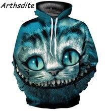 Arthsdite 2017 Autumn Winter Oversized Hoodies for Men/women Sweatshirt Print Tracksuit Animal Cheshire Cat 3d Hoody Pullover